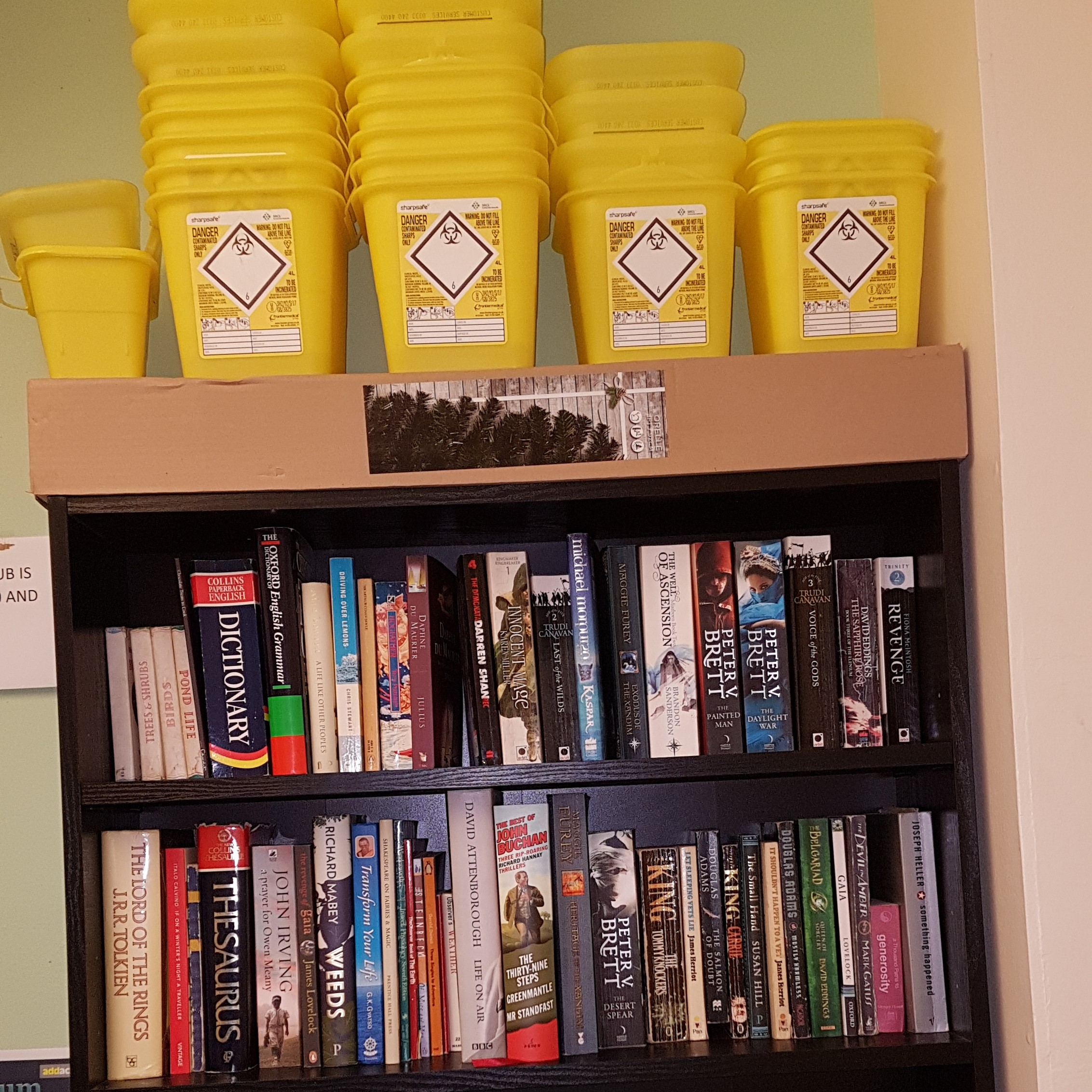 Bookshelf and sharps